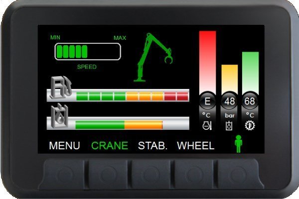 display of forestry crane control systems