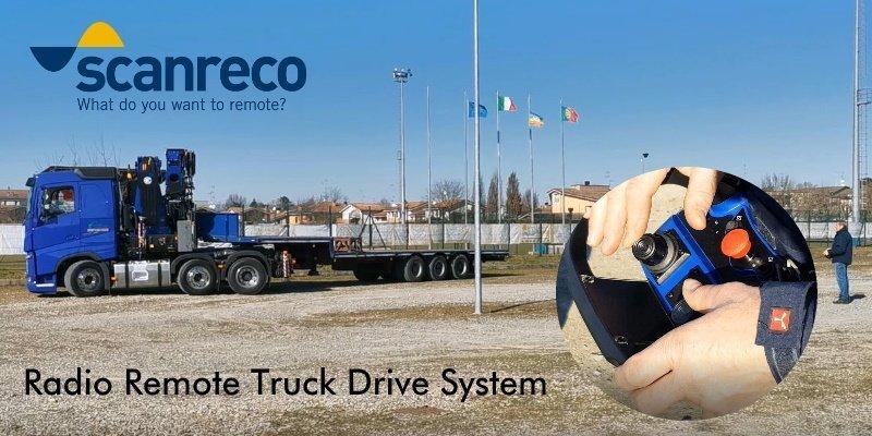 Sistema de conducción remota de camión Volvo Exster con radiomando Scanreco